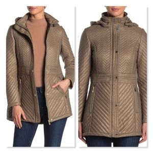 NEW Via Spiga Quilted Hooded Anorak Sage Green